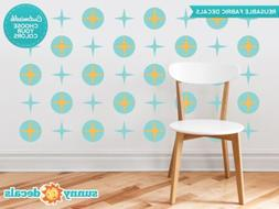 Circles and Stars Fabric Wall Decals, Set of 20 Mid Century