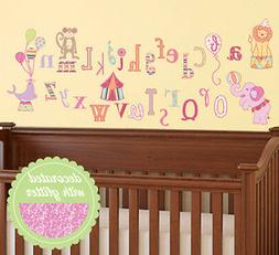 CIRCUS ALPHABET LETTERS wall stickers 33 decals school anima
