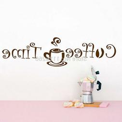 Coffee Time Wall Art Sticker Decal for Kitchen Cafe Shop Off