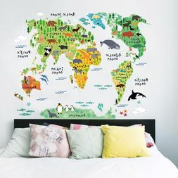 Colorful Animal World Map Sticker For Kids Room Wall Homes D