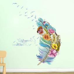 Colorful Feather Floral Butterfly Wall Decal Sticker Removab