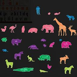 colorful glow dark animal wall