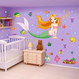 ufengke Colorful Mermaid Underwater World Wall Decals, Child