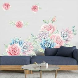 Colorful Peony Flowers Blossom Wall Decals Floral Wall Stick