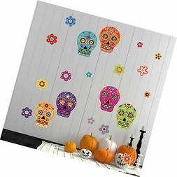 colorful skull flower wall stickers day of