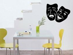 Comedy Tragedy Theater Mask Art Wall Decal Sticker