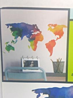 Continent wall stickers, peel and stick. 1 sheet of rainbow