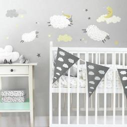 COUNTING SHEEP wall stickers 21 decals NURSERY decor clouds