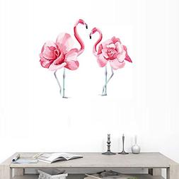 BIBITIME Couple Rose Flower Flamingo Wall Decals for Girl Ro