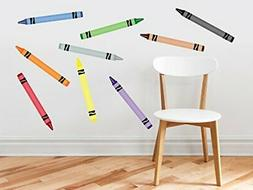 Crayon Fabric Wall Decals - Set Of 9 Coloring Crayons In 9 D