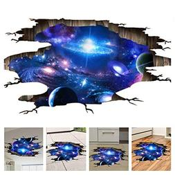 Amaonm Creative 3D Blue Cosmic Galaxy Wall Decals Removable