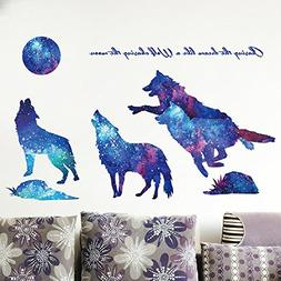 Amaonm Creative Blue Vinyl Starry Sky Wolf and Moon Stars Wa