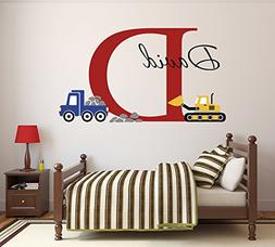 Custom Construction Truck Name Wall Decal for Boys Nursery B
