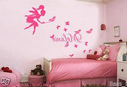 CUSTOMISE NAME & FAIRY; BUTTERFLIES Kids Removable Wall Deca