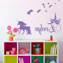 CUSTOMISE NAME & Unicorn ,stars Kids Removable Wall Decal fo