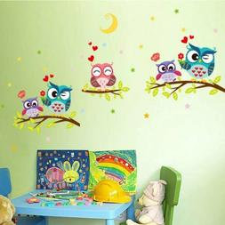 Cute Animal Kids Baby Owl Wall Sticker Mural Decals Removabl
