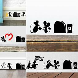 Cute Black Mouse Hole Wall Sticker Switch Wallpaper Funny Cl