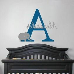 Cute Elephant Initial Monogram and Name - Vinyl Wall Decal N