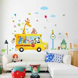 Cute Forest Animals Wall Stickers For Kids Rooms Panda Monke