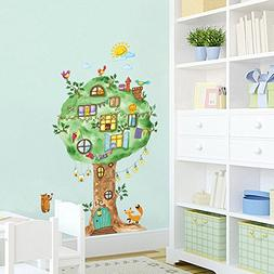 Cute Jungle Animal Across the Bridge Removable Cartoon Wall