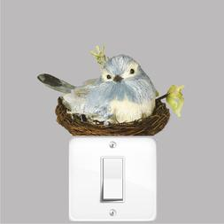 Cute Nesting Bird Wall Decal Mural Floral Nest Blue Flowers