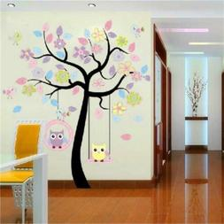 Cute Owl&Tree Mural DIY Art Decals Wall Sticker For Kid Baby