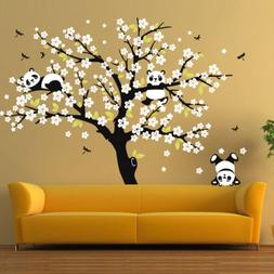 Cute panda Cherry Blossom Tree Wall Large decals Removable s