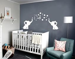 LUCKKYY Cute Three family Elephant Wall Decals for kid Room