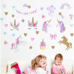 Cute Unicorn Wall Sticker Rainbow Star Decals Removal Kids G