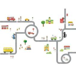 Decowall DA-1404 The Road and Cars Kids Wall Decals Stickers