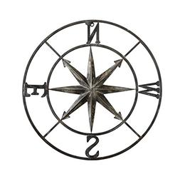 Creative Co-op Casual Country Metal Compass Wall Décor, 2 P