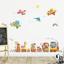 Decowall DAT-1406A1506B Animal Train and Biplanes Kids Wall