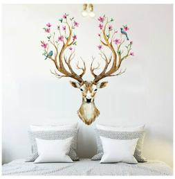 Deer Birds Flowers Tree Removable Wall Sticker Vinyl Decals