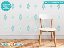 Diamond and Stars Fabric Wall Decals - Set of 24 Diamond and