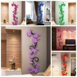 DIY 3D Flower Beautiful Mirror Wall Decals Stickers Art Mode