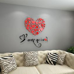 DIY 3D Mirror Love Decor Quote Flower Wall Stickers Decal Ho