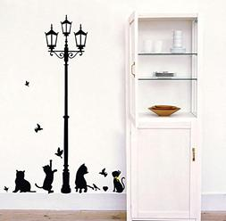 "BIBITIME DIY 51"" x 59"" Birds Street Lamp Wall Decal Black He"