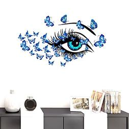 BIBITIME DIY Blue Butterflies Vinyl Decal Long eyelashes Eye