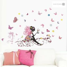 DIY Fashion Girl Fairies Butterfly Floral Wall Sticker For K
