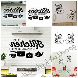 DIY Home Kitchen Wall Stickers Coffee Cup Removable Vinyl Ar