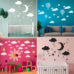 DIY Large Clouds Moon Stars Wall Decals Children's Room Home