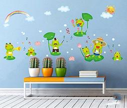 Fange DIY Removable Happy Frog Cartoon Art Mural Vinyl Water
