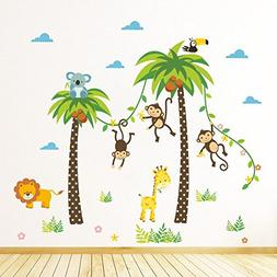 diy removable jungle animal kindergarten