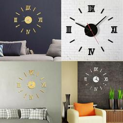 DIY Wall Clock Watch Home Modern Decoration 3D Crystal Mirro