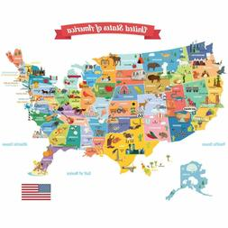 DECOWALL DL-1906 USA Map Kids Wall Stickers Wall Decals Peel