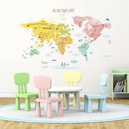 Decowall DLT-1616N World Map peel & stick wall decals sticke