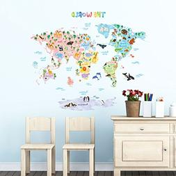 Decowall DMT-1615S Animal World Map Kids Wall Decals Wall St