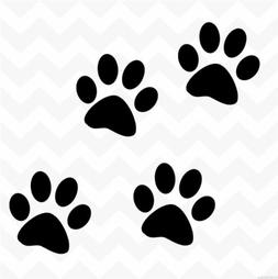 Dog paw prints vinyl wall stickers decals set of 4 suit wall