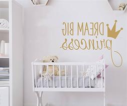 JOYRESIDE Dream Big Princess With Crown Wall Decal Vinyl Sti