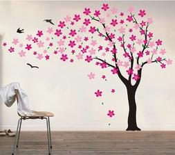 Pop Decors Drifting Flowers and Birds Tree Wall Decals for N